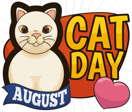 Cute kitty forming the number eight with its body with ribbon and a pink heart to celebrate Cat Day in August 8. Illustration