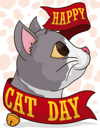 Smiling cat with greeting ribbon and a little bell, over a heart pattern background ready to celebrate Cat Day.