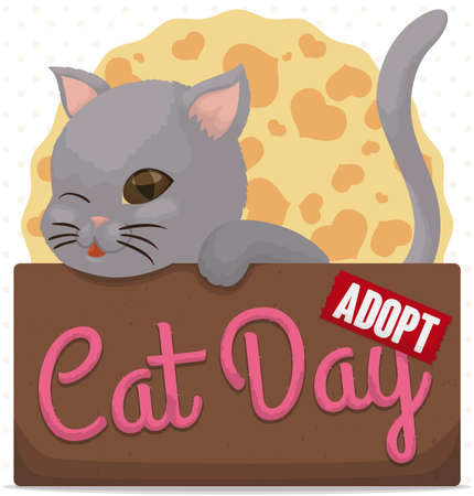 Cute kitty winking at you, inside a cardboard box promoting pets adoption and much love for them during Cat Day celebration. Illustration