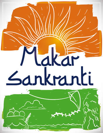 Commemorative poster with brushstrokes like Indian flag colors promoting some Makar Sankranti traditions: sun worship, laddus desserts, decorated pots, kite flying, baths in sacred rivers -or puja- and bonfires. Ilustração