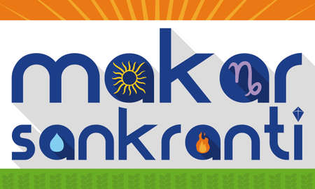 Banner in flat style and long shadow with traditional elements of the Indian celebration of Makar Sankranti: Sun draw, Capricorn symbol, water drop for sacred baths -or puja-, bonfire and kite.