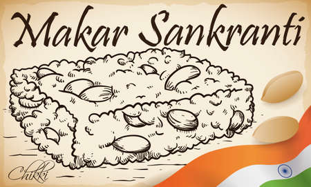 Hand drawn design of a delicious and traditional chikki snack and some peanuts scattered around it with India flag, ready to be delighted during Makar Sankranti festival. 스톡 콘텐츠 - 154332061