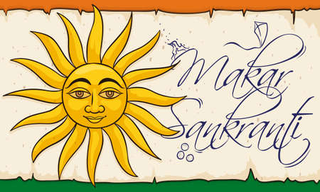 Commemorative banner with Sun over a scroll, decorated with some traditions of Indian Makar Sankranti celebration: bonfires, kite flying and laddus desserts.