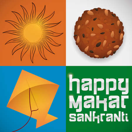 Traditional set of elements to celebrate Makar Sankranti Festival in India: sun worship with hand drawn symbol, delicious til laddu dessert covered with sesame seeds and flying kite.