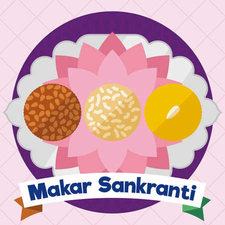 Delicious laddus samples in a tray with lotus flowers to celebrate Makar Sankranti Festival: til laddoo -with sesame seeds-, coconut ladoo and yellow Besan laddu. Illustration