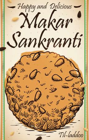 Scroll with delicious til laddu in hand drawn style and watercolor brushstroke, seasoned with black and white sesame seeds and Indian ribbons for Makar Sankranti Festival. Illustration