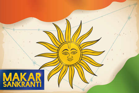 Scroll decorated with Capricornus constellation and Sun draw in a scroll, with waving clothes like Indian flag for the celebration of Makar Sankranti.