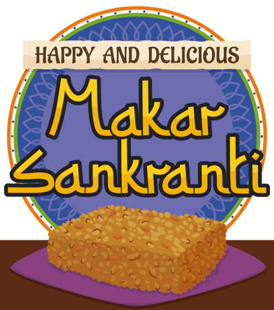 Round button promoting the celebration of Makar Sankranti festival with a delicious sample of chikki snack covered with sesame seeds and greeting message in the scroll.