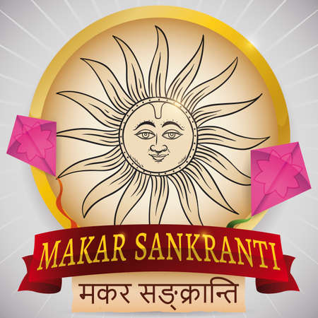 Golden round button decorated with a Sun in hand drawn style, two kites decorated with lotus flowers, greeting ribbon and scroll written in Sanskrit for Indian celebration of Makar Sankranti.