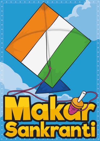 Kite -or patang- with patriotic India flag colors, flying in the sky with golden sign and a reel -or manja- with pink thread to celebrate the Makar Sankranti Festival. Vetores