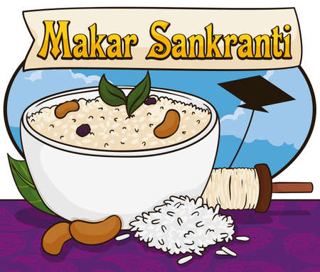 Beautiful view of India sky with kite flying, a reel and a delicious sample of its traditional cuisine: pongal bowl with mung beans and rice over tablecloth with parsley pattern for Makar Sankranti.