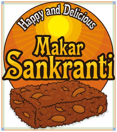 Commemorative round button with bright sun and delicious peanut chikki snack (a type of brittle Indian dessert) for Makar Sankranti festival.