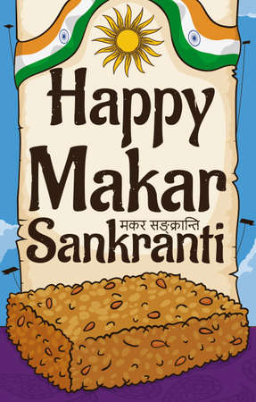 Greeting scroll and delicious sesame chikki snack, served in a sunny day of Makar Sankranti festival with kites flying in the sky (written in Sanskrit over the scroll decorated with India ribbon and sun draw).