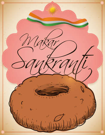 Delicious medu vada -a type of donut from India- with sign and ribbon like flag with patriotic colors, decorated with a sun and a frame with lotus flowers to celebrate the Makar Sankranti festival. Illustration