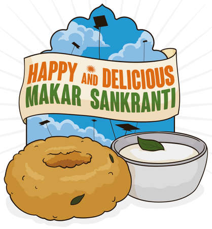 Beautiful view of India sky with flying kites and a delicious medu vada (a type of donut) breakfast with coconut chutney to celebrate Makar Sankranti festival in India. Illustration