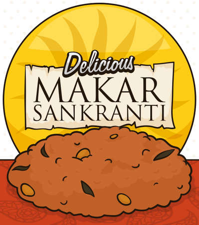 Delicious masala vada with spices and a round button with sun silhouette and greeting scroll to celebrate the Indian Makar Sankranti.