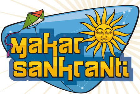 Banner with greeting sign decorated with the Capricornus constellation, the Sun crossing through it and a kite with Indian color for the celebration of Makar Sankranti. Illustration