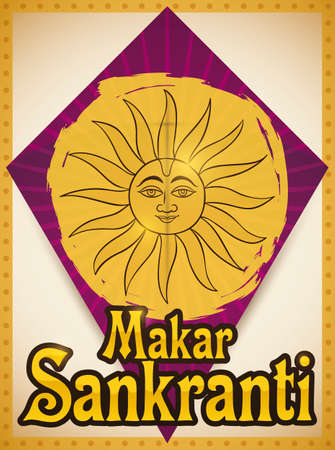 Poster with commemorative kite decorated with Sun draw -representing to Surya deity- over yellow paint to fly in the Makar Sankranti celebration in India.