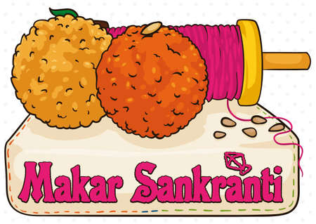 Delicious laddus in different styles: a delicious bessan and the other one motichoor styled laddoo, served in a cloth napkin with an embroidery text and kite of Makar Sankranti in India.