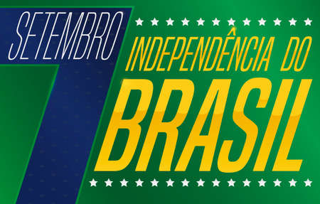 Commemorative banner with sign and golden letters, blue number date, stars and Brazilian colors ready for Brazil Independence Day (written in Portuguese) this 7th September.