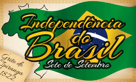 Commemorative design with scroll, waving Brazilian flag and map over it to celebrate Brazil Independence Day (written in Portuguese) this 7th September over decorative frame.