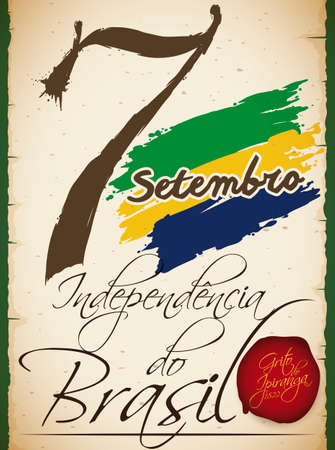 Commemorative scroll reminding at you a historic Brazilian event that ignite the independence events in that country: the Cry of Ipiranga or Independence Day of Brazil (written in Portuguese). Çizim