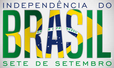 Commemorative double exposure design with Brazil's flag inside of letters to celebrate Brazilian Independence Day this 7th September (written in Portuguese). Ilustração