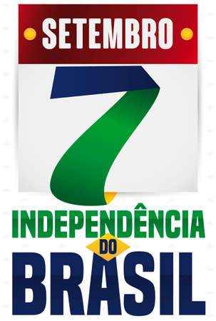 Loose-leaf calendar with number seven made with ribbon and traditional Brazilian flag colors, reminding at you to celebrate Brazil Independence Day (written in Portuguese) this September 7. Çizim