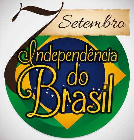 Commemorative, patriotic button with Brazil's seal, scroll and giant number like reminder date for Brazil Independence Day event (written in Portuguese): 7th September.