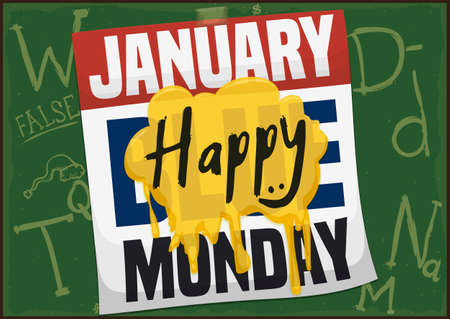 School blackboard with loose-leaf calendar and a yellow spot reminding at you to be happy during Blue Monday.