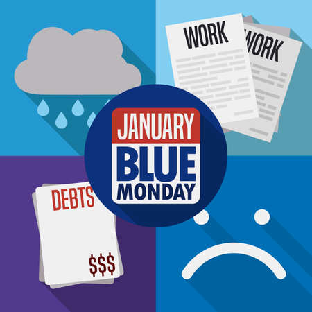 Flat design with long shadow for a deadly combination of stocked work, bills, debts and bad weather during the Blue Monday in January with reminder calendar.