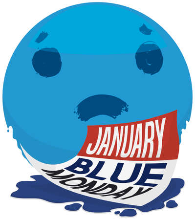 Giant blue spot with sad face in brushstroke style and loose-leaf calendar over ink to commemorate the discouragement and unhappiness in the Blue Monday.