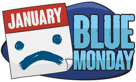 Banner with a loose-leaf calendar with sad face in brushstroke painting due the sadness and discouragement in the Blue Monday.