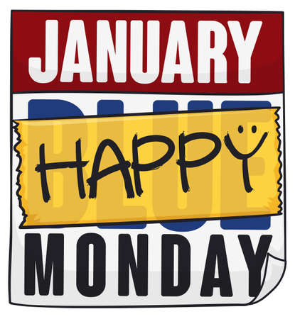 Loose-leaf calendar with yellow tape and reminder to be happy and fight the false belief of the Blue Monday in January. Vettoriali