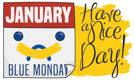 Sad loose-leaf calendar with a yellow smiley painting, correcting the depressed face, promoting joy and happiness in the Blue Monday.