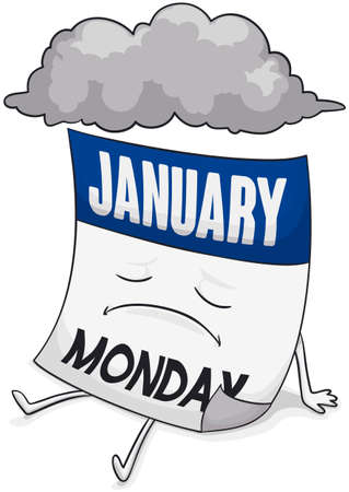 Sad calendar with stormy cloud above of it remembering the Blue Monday in January.