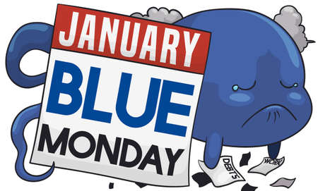 Discouraged soul behind loose-leaf calendar, full of debts, work, bad weather and reminder date for Blue Monday in January.