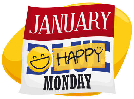 Loose-leaf calendar for Blue Monday with a round sticker of smiling emoji and yellow tape blocking the blue message and promoting a happy day.