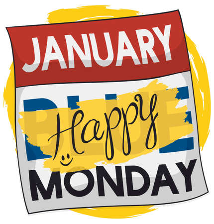 Loose-leaf calendar with a brushstroke of yellow paint reminding at you to be happy and positive in the Blue Monday.