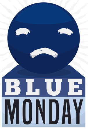Shiny sphere with sad face painted on it and loose-leaf calendar reminding you the Blue Monday event in January.