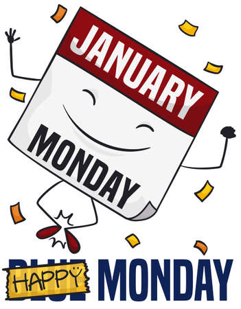 Happy loose-leaf calendar under a confetti shower celebrating the good mood during Blue Monday -banned with yellow tape-.