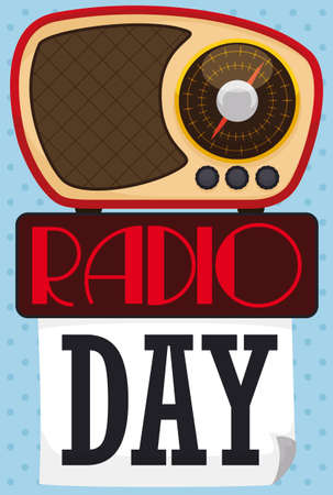 Loose-leaf calendar decorated with On Air sign and Bakelite transistor radio in the top of it reminding at you to celebrate Radio Day.