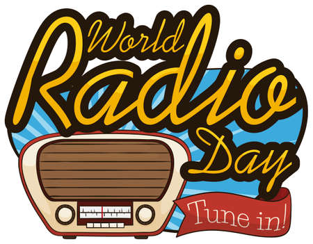 Vintage design with antique bake lite radio and greeting ribbon to celebrate World Radio Day event, tuning in the special broadcast for this date.