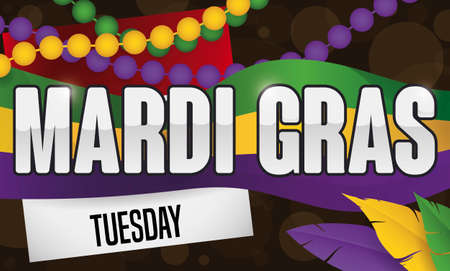 Mardi Gras night with calendar reminding at you to celebrate this carnival wearing colorful flag, necklaces and feathers.
