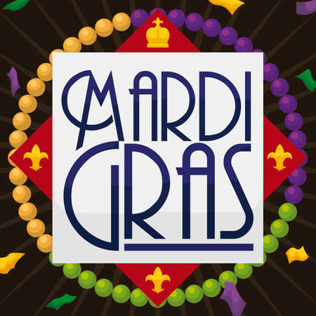 Greeting sign with lily flowers and a crown under a confetti shower and traditional necklaces that represent the Mardi Gras colors: purple, green and golden.