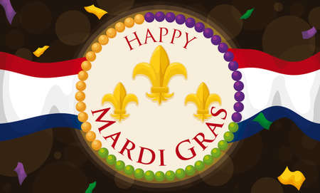 Commemorative banner with New Orleans waving flag, round button decorated with lily flowers and colorful string beads under a confetti shower to celebrate Mardi Gras.