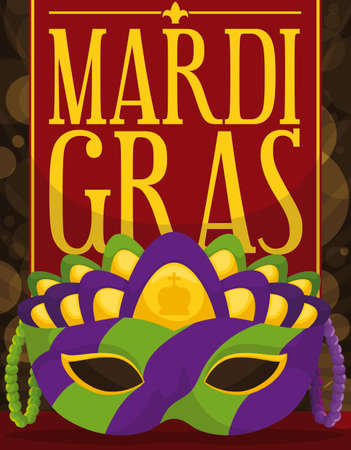 Colorful mask, decorated with string beads and red label, ready to celebrate Mardi Gras night parade.