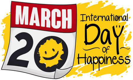 Loose-leaf calendar painted with yellow paint and smile over brush stroke to commemorate International Day of Happiness this 20th March.