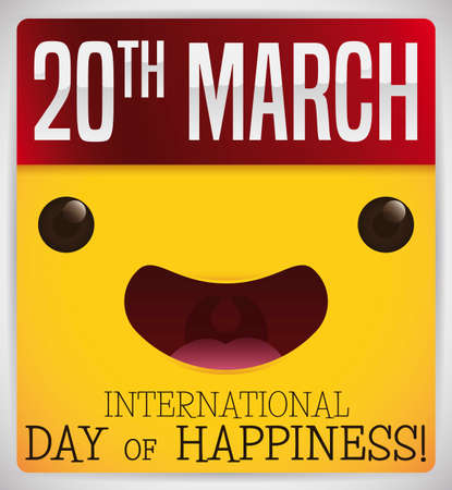 Loose-leaf calendar with yellow, cute and smiling face and the reminder date to celebrate International Day of Happiness: March 20.