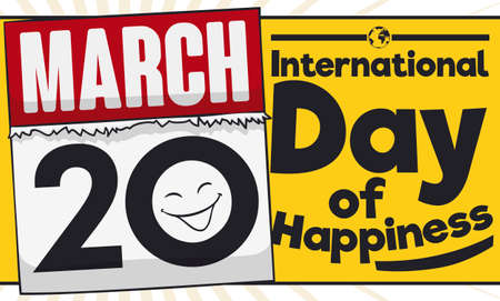 Banner with yellow label and loose-leaf calendar with a smile and the date for International Day of Happiness: March 20.